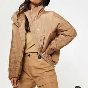 PLT Khaki Oversized Puffer Coat